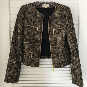 Michael Kors cropped blazer with gold zipper